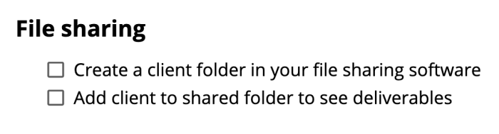 The file sharing steps from the checklist