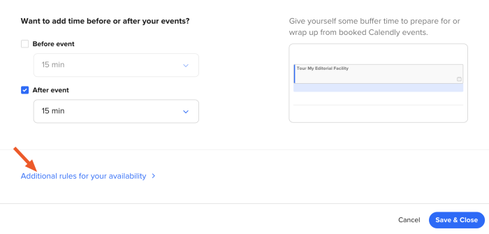 The additonal rules option in Calendly