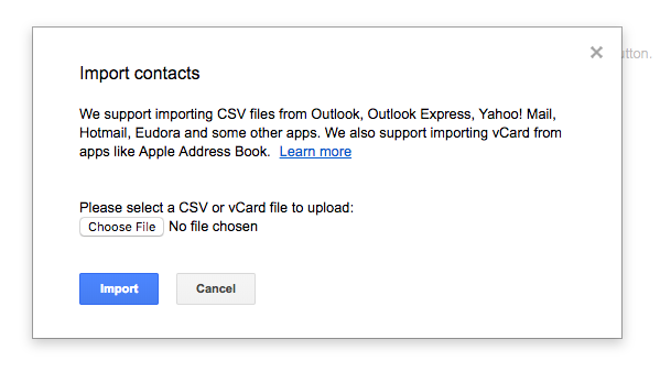 Select your file and Import those contacts.