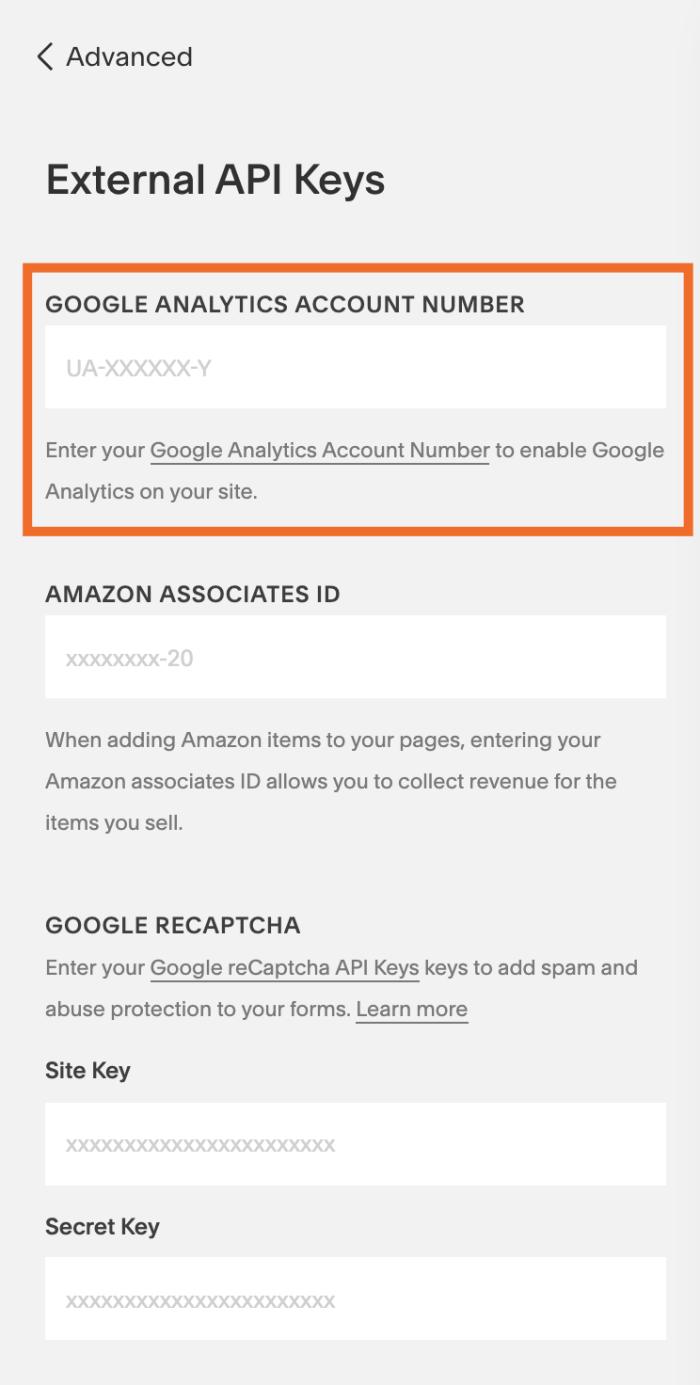 Campo de ID de seguimiento de Google Analytics en Squarespace
