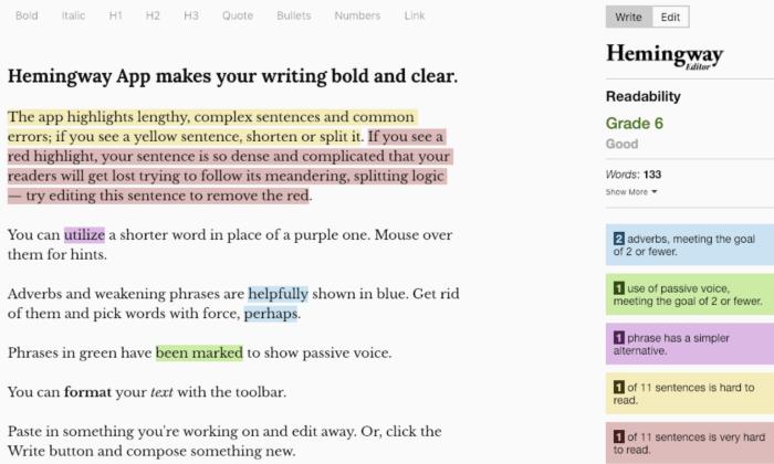 Hemingway Editor screenshot