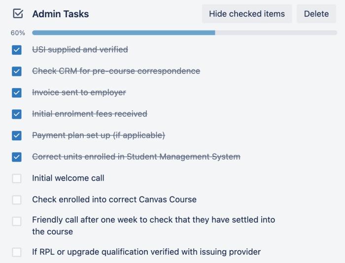 Tasks within a Trello card, created by Zapier.