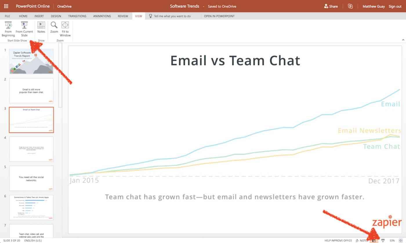 Start presenting in PowerPoint Online