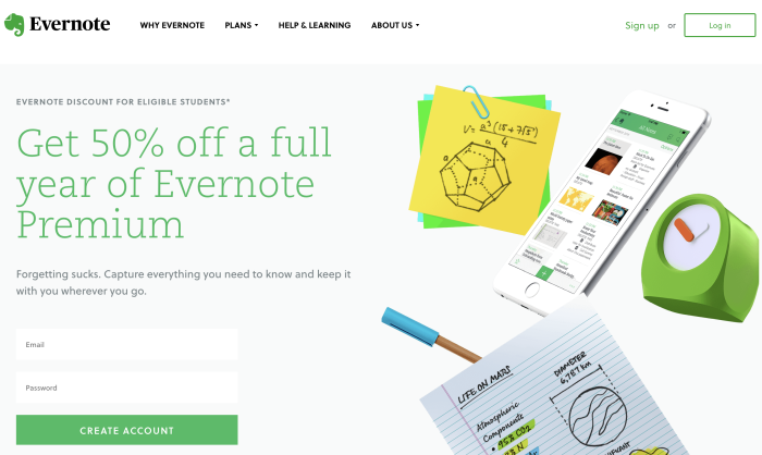 Evernote student discount landing page