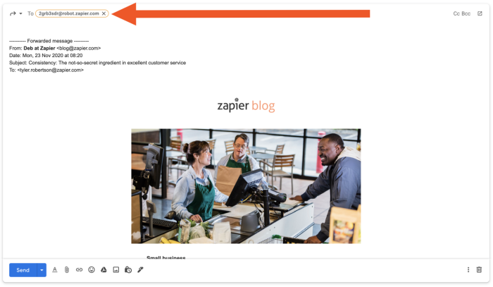 """In the """"To:"""" line of the forwarded email is the address """"2grb3sdr@robot.zapier.com"""""""