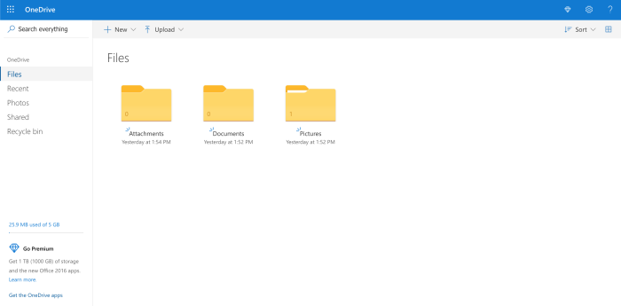 OneDrive web browser view