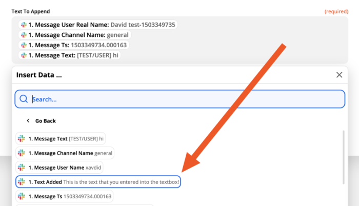 """A screenshot of the action step set-up, showing an arrow pointing to the """"text added"""" field pulled in from Slack."""