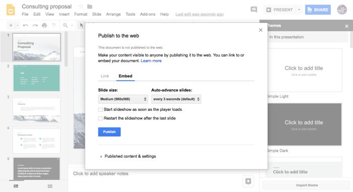 Google Slides Embed