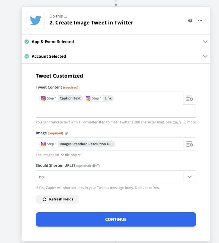 Configurar un tweet en Instagram en Zapier