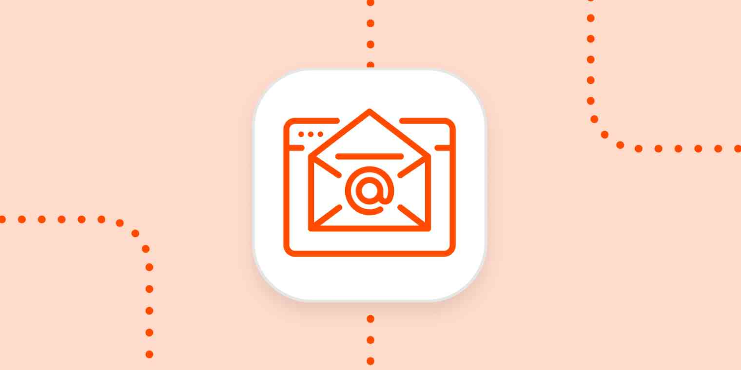 An email icon in a white square on an orange background