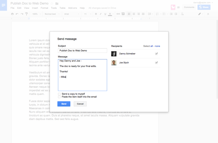 Email Collaborators