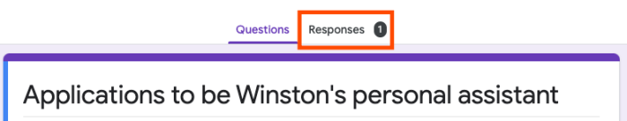 """A screenshot of a Google Forms page with an orange box around the """"Responses"""" section."""