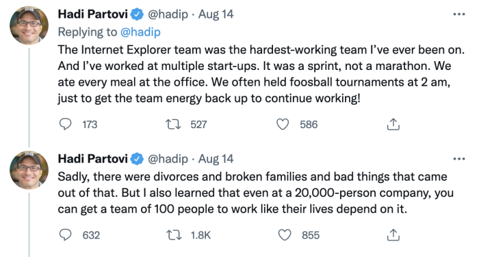 Tweets from Hadi Partovi talking about how much was sacrificed to create Internet Explorer