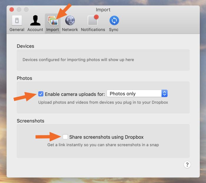 Dropbox settings Import