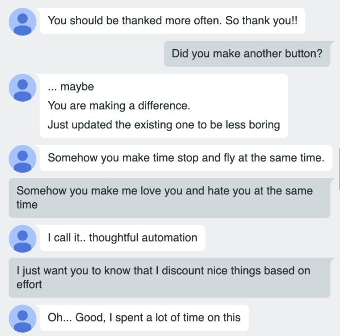 A long conversation about automating affection