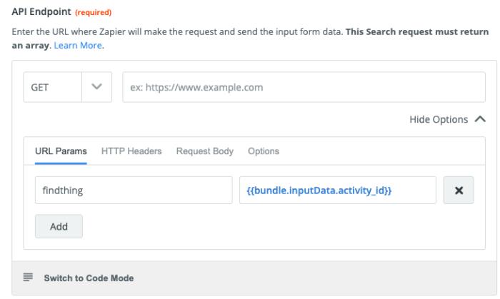 API endpoint set-up