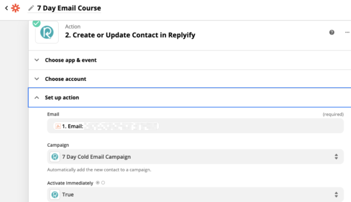The action step of a Zap showing an email address from the prior webhooks step in the email field, plus campaigns and other fields from within the email service, Replyify.