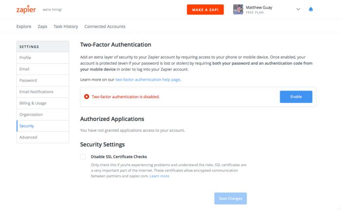 Zapier Security Settings