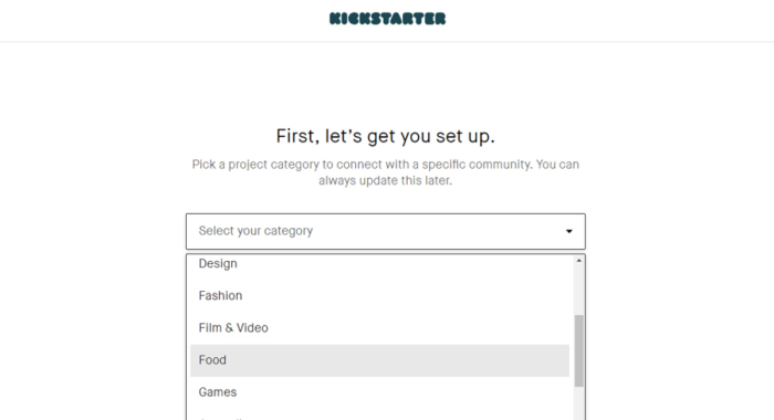 Kickstarter set up page