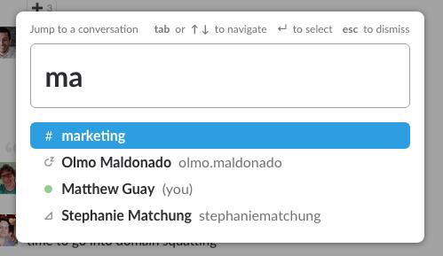Slack channel search
