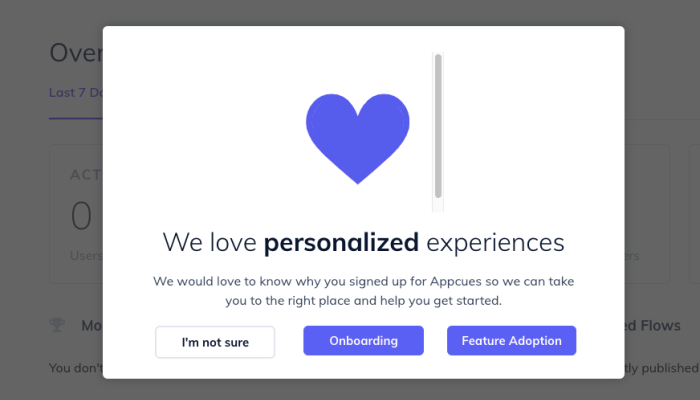 Appcues personalized message