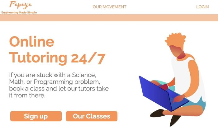 A screenshot of Papaya's website