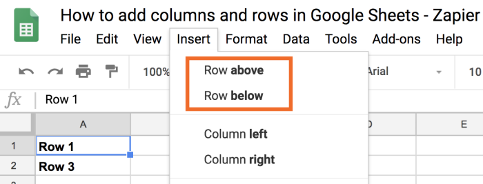 Row above or Row below