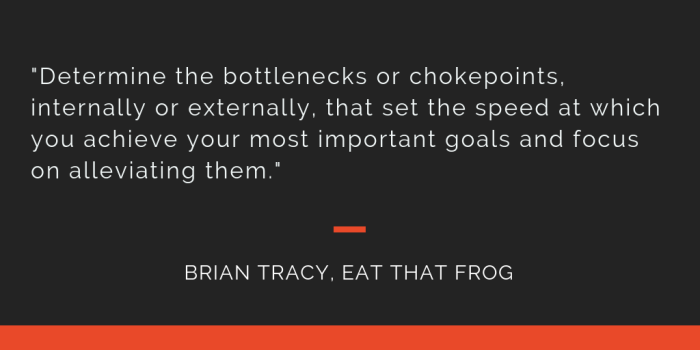 Eat That Frog principle 13: Determine the bottlenecks or chokepoints, internally or externally, that set the speed at which you achieve your most important goals and focus on alleviating them.