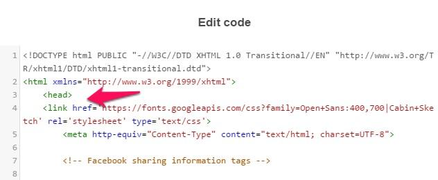 set google font head document