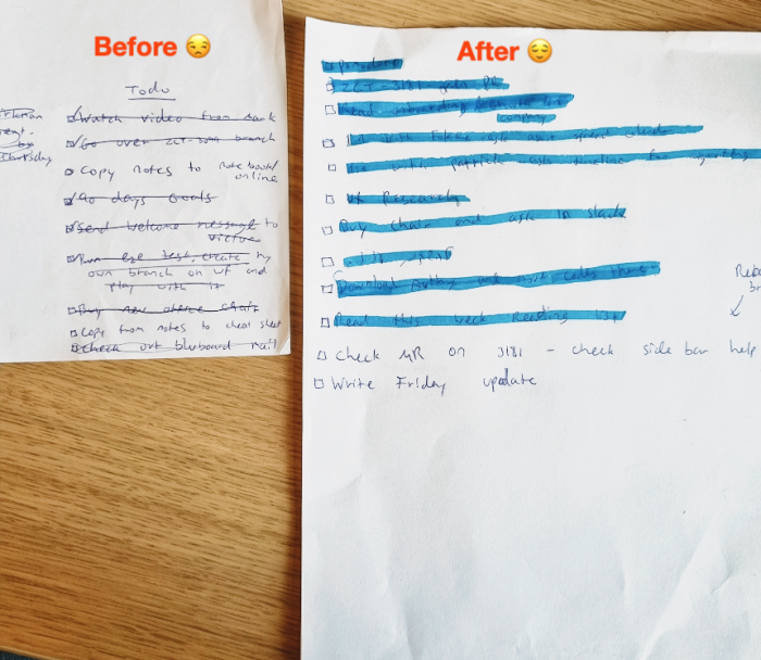 Side-by-side tasks lists, one with completed tasks crossed off, one with completed tasks highlighted