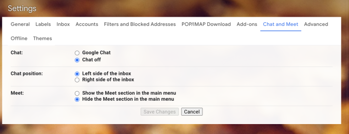 Chat and Meet settings in Gmail