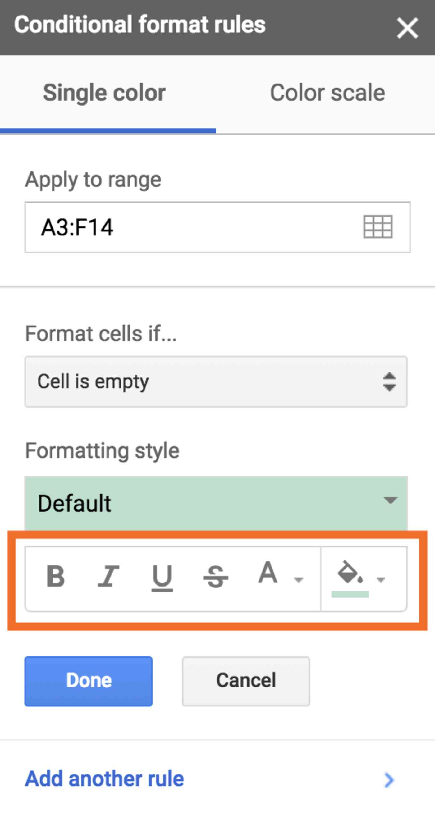 Style change options for conditional formatting