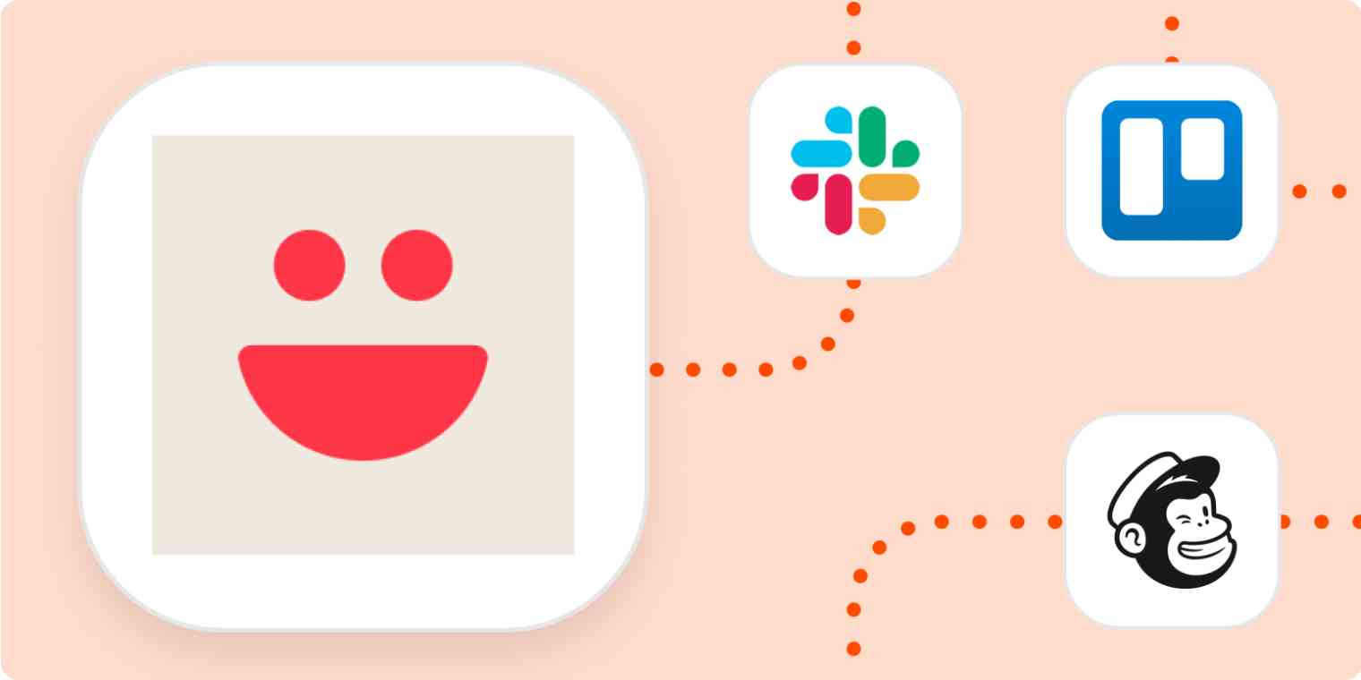 The VideoAsk app logo connecting to Slack, Trello, and Mailchimp.