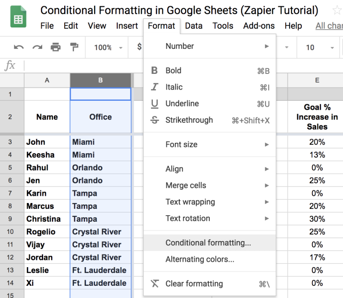 Selecting Format, Conditional Formatting