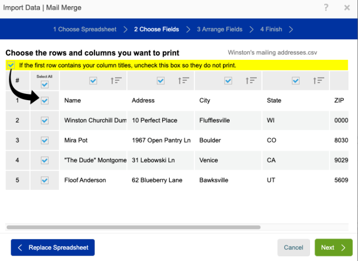 A screenshot showing how to choose fields. There are checkboxes to allow you to select specific columns and rows so that you only print what is needed.