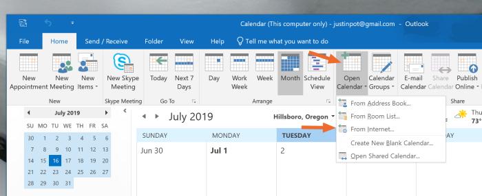 Suscribirse a calendarios en línea en Outlook