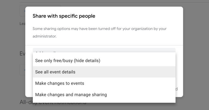 Permissions for sharing a calendar