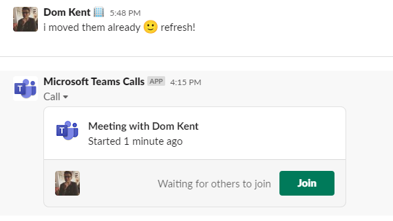 Starting a teams call in Slack