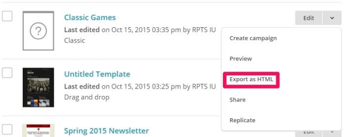 export mailchimp html