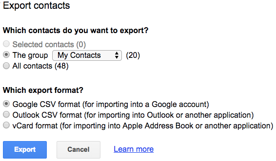 Select which Google Contacts to export