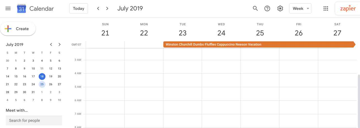 Hey, the data from Google Forms showed up in Google Calendar