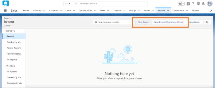 Haga clic en Nuevo informe para crear un informe.
