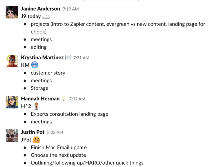 People sharing their daily plans in Slack