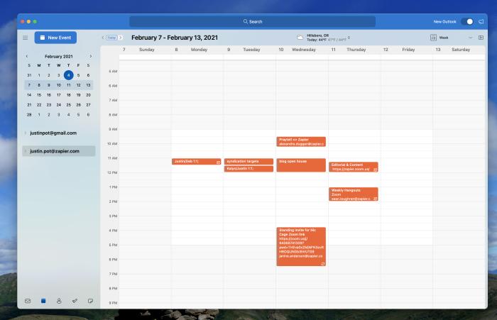 Outlook for macOS calendar screenshot