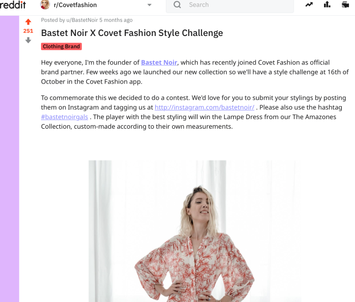 Bastet Noir's post on Covet Fashion's subreddit