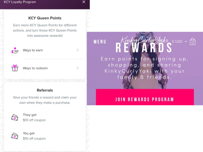 A screenshot of Vivian's rewards program
