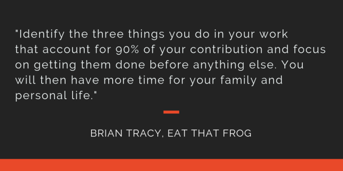 Eat That Frog principle 8: Identify the three things you do in your work that account for 90% of your contribution and focus on getting them done before anything else. You will then have more time for your family and person life.