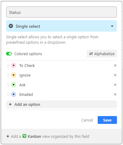 """Creating a """"Single select"""" list with selectable options in AirTable"""