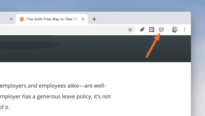 The Pocket button in Chrome