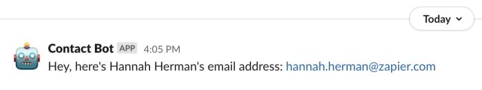 Bot response in Slack